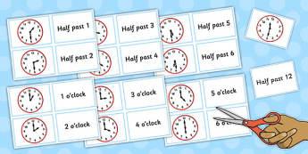 Clock Matching Game Split Cards - clock, matching, game, split, cards