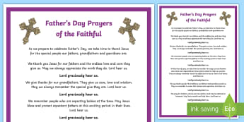 Father's Day Prayers of the Faithful Print-Out - prayers of the faithful, Roman Catholic, religion, prayer service, assembly, print-out, Fathers' Da