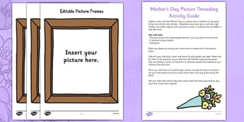 Mother's Day Picture Frame Threading Busy Bag Resource Pack for Parents - photo, photograph, picture frame, family, Mother, threading, pipe cleaner