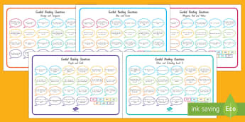 New Zealand Levelled Guided Reading Questions Mats - Literacy, Reading, Guided Reading, Magenta, Red, Yellow, Blue, Green, Orange, Turquoise, Purple, Gol