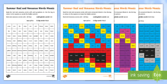 Summer Phase 4 Phonics Mosaic Activity Sheets - cluster, blend, consonant, blends and clusters, Read, Decode, Solve, grapheme, Worksheets