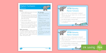 Elephant Toothpaste STEM Activity and Prompt Card Pack - Early Childhood Animals, Animals, Pre-K Animals, K4 Animals, 4K Animals, Preschool Animals,  Zoo Ani