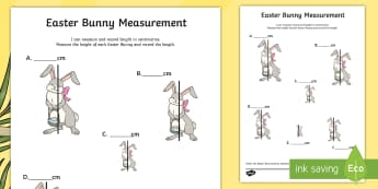 Easter Bunny Measurement Activity Sheet - Australia Easter Maths, easter, Australia, mathematics, year 3, ACMMG061, length, centimeters, order