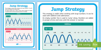 Jump Strategy A2 Display Poster - Australia, Australian Curriculum, Maths, Jump Strategy, Number Line, Addition, Subtraction, ACMNA015