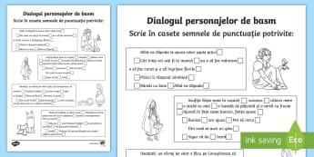 Dialogul personajelor de basm Scrie semnele de punctuație - Fun Ideas, joc, semne de punctuație, punct, virgulă, semnul exclamării, semnul întrebării, dou