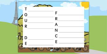 Tour de France Acrostic Poem Template - le tour, poems, poetry
