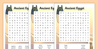 Ancient Egypt Wordsearch Differentiated - egypt, word search