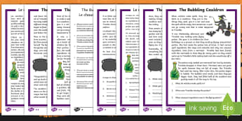 The Bubbling Cauldron Differentiated Reading Comprehension Activity English/French - Halloween, october, festival, autumn, celebration, spooky, ghosts, witch, zombies, EAL French,French