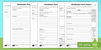 KS2 Wimbledon News Report Differentiated Activity Sheet - writing, journalism, tennis, broadcast, non-fiction.