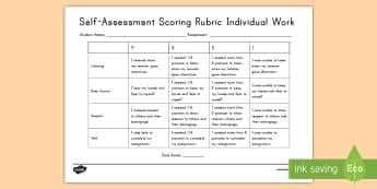 Individual Work Self-Assessment Sheet - self, assessment, individual, Assignment, reflect, monitor