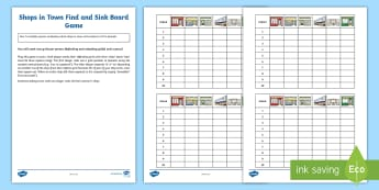 Shops in Town Find and Sink Board Game - Spanish, Vocabulary, KS2, numbers, battleships, board, game, boats, shops, town, activity, game