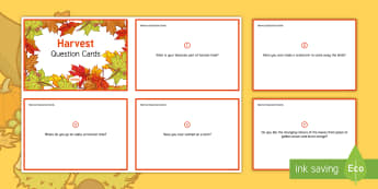 Harvest Question Cards - Autumn, Seasons, Display, September, October, November, Leaves, Harvest, Activity Co-ordinators, Sup