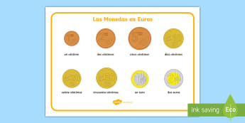 Euro Coins Word Mat - Spanish - euros, coins, currency, maths, numbers, abroad