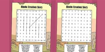Hindu Creation Story Wordsearch - Hindu Mythology Wordsearch
