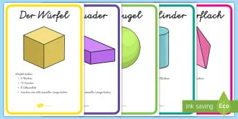 3D Formen Poster für die Klassenraumgestaltung - Figuren, Flächen, Seiten, Kanten, Mathe, Geometrie, ,German