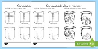 Ficha de actividad: Más o menos - Capacidad - CI - medida, capacidad, mates, medir medida, medir capacidad, lleno, vacio, ficha, actividad, ,Spanish