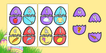 Easter Egg Alphabet Matching Activity - matching activity, matching, easter eggs, alpahbet matching, alphabet, pattern matching, colour matching, match the eggs, easter matching activity, easter activity, activity, snap