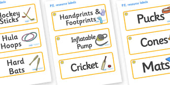 Sunshine Themed Editable PE Resource Labels - Themed PE label, PE equipment, PE, physical education, PE cupboard, PE, physical development, quoits, cones, bats, balls, Resource Label, Editable Labels, KS1 Labels, Foundation Labels, Foundation Stage L