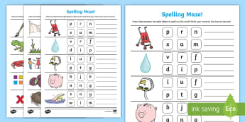 CVCC and CCVC Spelling Maze Activity Sheet - CVCC and CCVC Spelling Maze Activity Sheet - cvc, high frequency words, segmenting, blending, pre-wr
