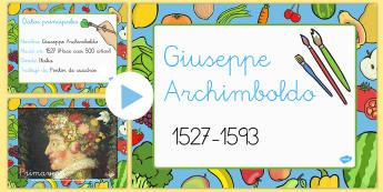 Guiseppe Arcimboldo Presentación - artes, obras, artistas, verdura, fruta, comida,Spanish