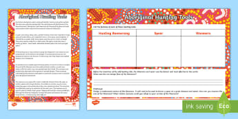 Aboriginal Hunting Tools Activity Sheets - Australia YR 3 and 4 Design Technology, woomera, hunting tools, aboriginal tools, worksheets, aborig