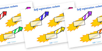 Editable Self Registration Labels (Firework Rockets) - Self registration, rocket, firework, register, editable, labels, registration, child name label, printable, Guy, Autumn, A4, display, bang, crackle, woosh, sparkler, catherine wheel, screech, whi