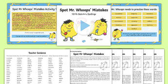 Spot Mr Whoops' Mistakes Y5/Y6 Statutory Spellings Assessment Pack