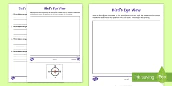 Bird\'s Eye View Activity Sheet - plan, compass, directions, map, diagram, north, south, east, west