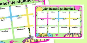Cumpleaños de alumnos - spanish, Classroom Organisation, pupil birthday, display poster, record, teacher planning