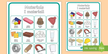 Materials Vocabulary  Display Poster English/Italian - materials, display, physics, science, classroom, plastic, wood, glass, EAL