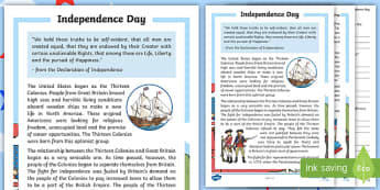 Independence Day Worksheet - Reading Passage and Comprehension Questions. Independence Day, 4th July, July 4th, Thomas Jefferson, Thirteen Colonies,