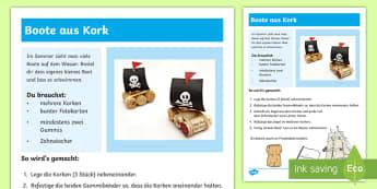 Boote aus Kork Anleitung für Lehrkräfte - Sommer, Jahreszeiten, Boot, Pirat, Basteln, Kl.1/2, summer, seasons, boat, pirate, EYFS/KS1, crafts,