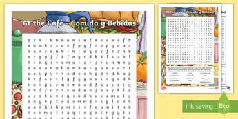 At the Cafe Bebidas y Comidas Word Search - Spanish food, Spanish drink, Spain, food, drink, languages