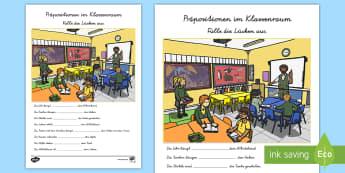 Präpositionen im Klassenraum Lücken ausfüllen Arbeitsblatt - Klassenzimmer, Lagewörter, wo, Verhältniswörter, Vorwörter, Fallfügteile,,German