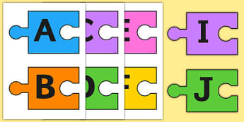 A-Z Alphabet on Jigsaw Pieces (Uppercase) - A-Z, A4, display, Alphabet frieze, Display letters, Letter posters, A-Z letters, Alphabet flashcards