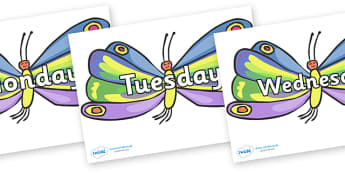 Days of the Week on Beautiful Butterflies to Support Teaching on The Very Hungry Caterpillar - Days of the Week, Weeks poster, week, display, poster, frieze, Days, Day, Monday, Tuesday, Wednesday, Thursday, Friday, Saturday, Sunday