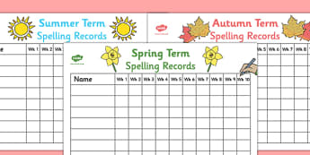 Termly Class Spelling Record Wall Charts - termly class spelling record, wall charts, charts, wall, class spelling, spelling, spelling record, class record, term, class, awards, reward