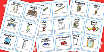 EAL Everyday Objects at School Editable Cards with English Romanian Translation -
