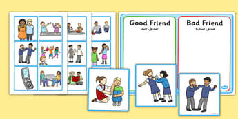 Good Friend Discussion and Sorting Cards Arabic Translation - arabic, good friend, discussion, sorting