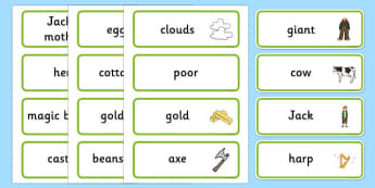 Jack and the Beanstalk Word Cards - jack and the beanstalk, word cards, topic cards, themed word cards, decsription, topic word, key word, descriptive word
