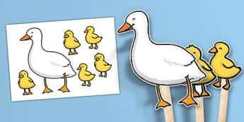 5 Little Ducks Stick Puppets - 5 Little Ducks, nursery rhyme, stick puppet, rhyme, rhyming, nursery rhyme story, nursery rhymes, counting rhymes, taking away, subtraction, 5 Little Ducks resources, counting backwards, one less than