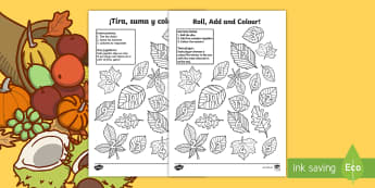 Leaf Roll and Colour Dice Addition Activity - English/Spanish - Leaf Roll and Colour Dice Addition Activity - leaf, roll and colour, dice, addition, addition activi