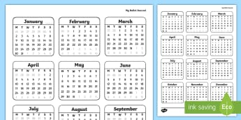 Bullet Journal Year to a Page Calendar - Bullet Journal, bujo, diary, journal, borders, colouring, doodles, calendar