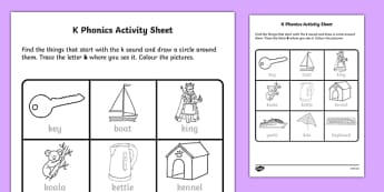 k Phonics Activity Sheet-Irish, worksheet