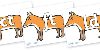 Final Letter Blends on Foxes - Final Letters, final letter, letter blend, letter blends, consonant, consonants, digraph, trigraph, literacy, alphabet, letters, foundation stage literacy