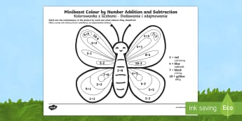 Minibeast Colour by Number Addition and Subtraction Up to 10 English/Polish - +, substraction, adition, coloyur by number, suntraction, subraction, minbeast, additon, subtrction,