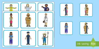 Community Helpers Matching Puzzle - Jobs, labor day, jobs, matching, job matching, uniform, outfit, costume, clothes
