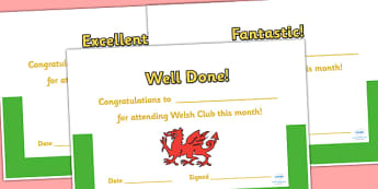 Welsh Club Certificates - welsh, wales, welsh club, award certificate, awards, certificates, reward certificates, award templates, behaviour management