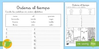 Ficha de actividad: Orden alfabético - El tiempo  - escritura, escribir, ortografía, sol, nube, nieve,Spanish