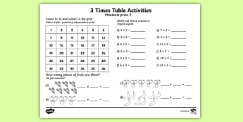 3 Times Table Activity Sheet Polish Translation-Polish-translation - 3 Times Table Activity Sheet - 3 times tables, counting 3s, 3s, 3, three times table, multiplication